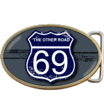 The Other Road Route 69 Buckle. Leather belt optional. Code A0093
